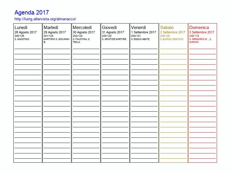 Agenda 2017 da stampare - Agenda da tavolo 2017 ...