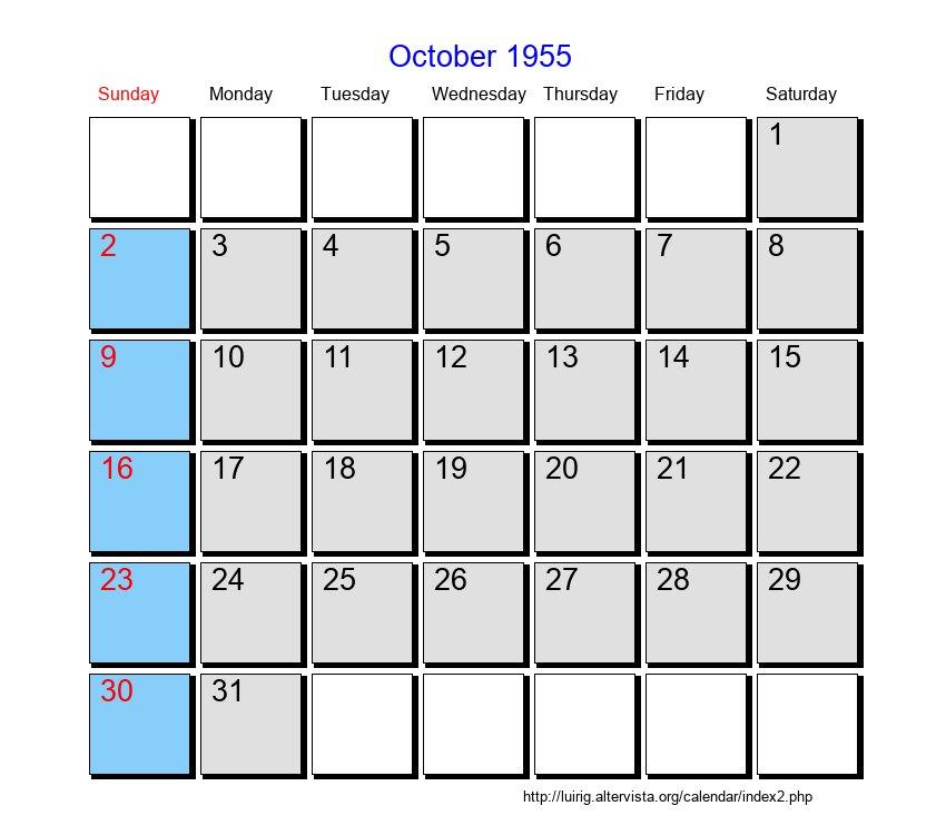 October 1955 - Roman Catholic Saints Calendar  |Calendar Oct 1952