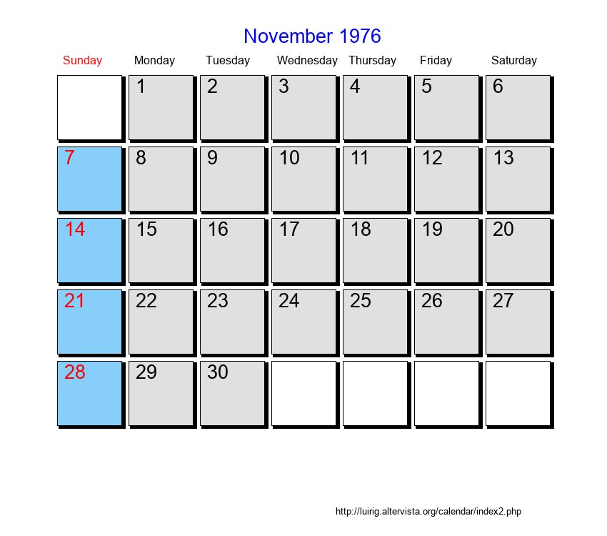 November 1976 Roman Catholic Saints Calendar
