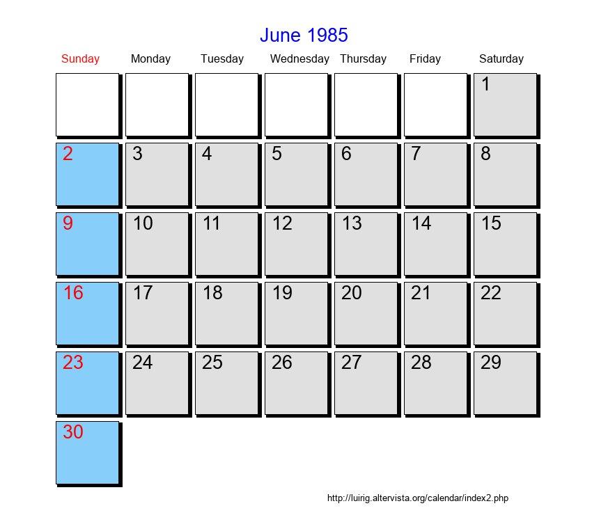 1985 Calendar.June 1985 Roman Catholic Saints Calendar