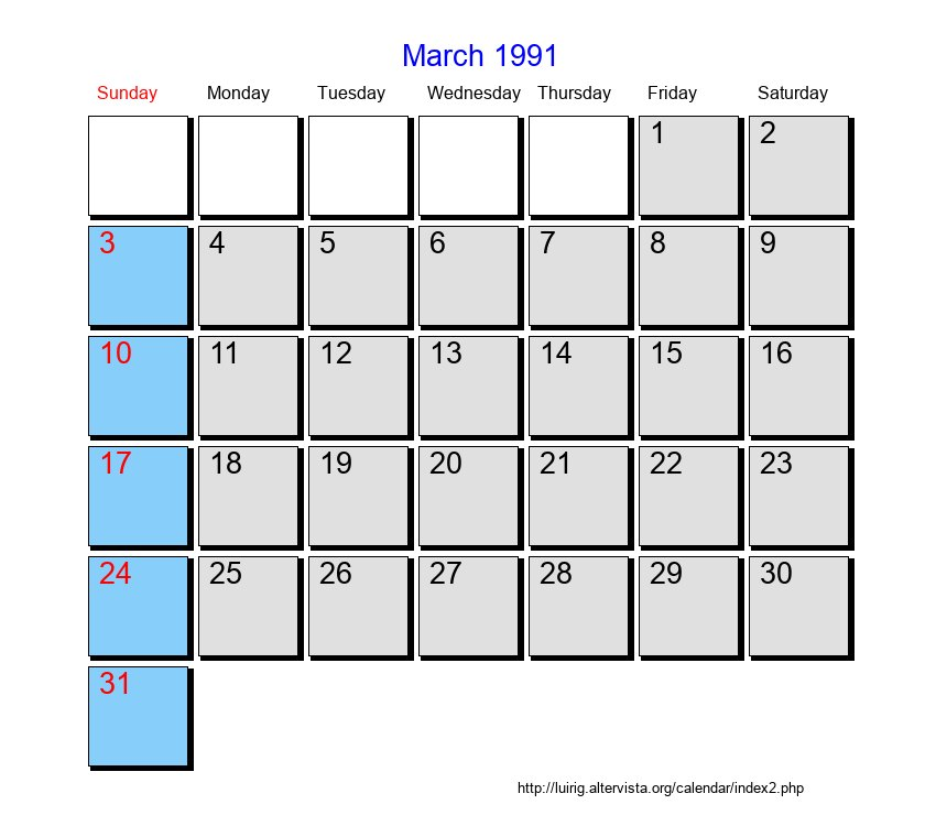 March 1991 Roman Catholic Saints Calendar