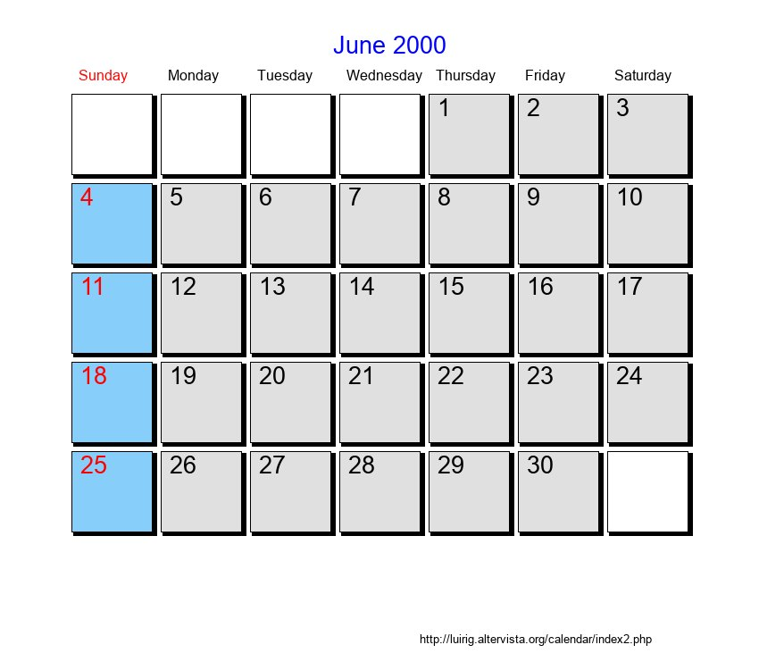 Calendar June 2000 : June roman catholic saints calendar