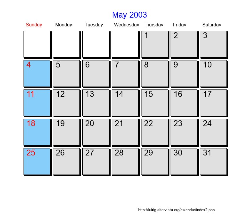 May 2003 Roman Catholic Saints Calendar