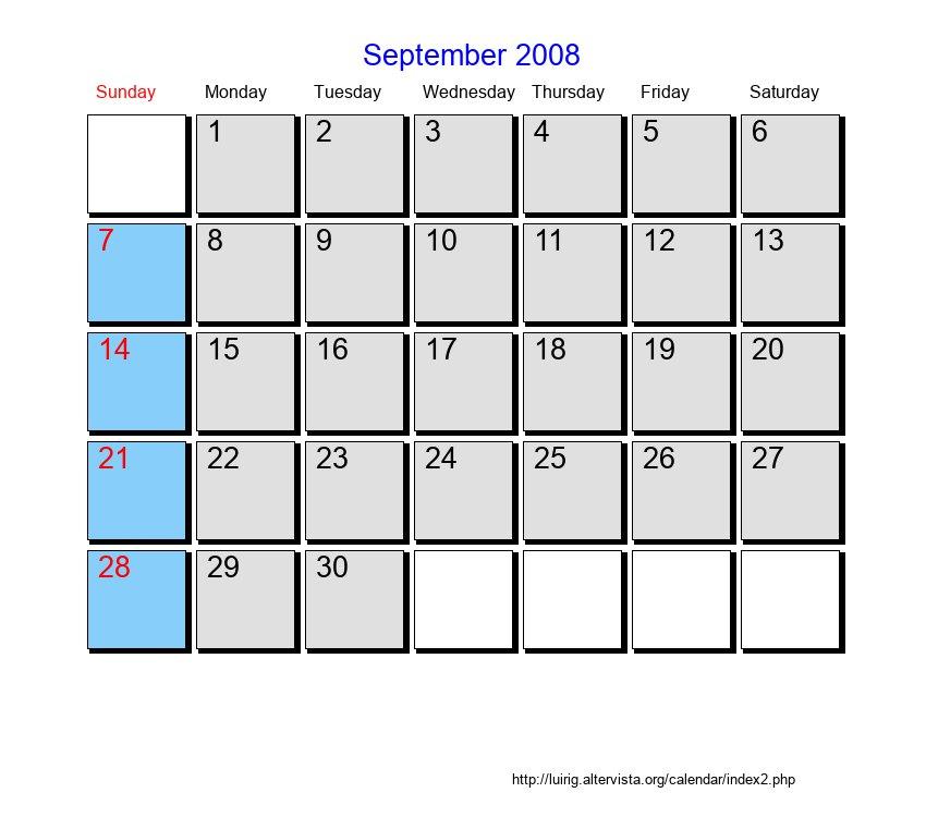 September 2008 Sunday Monday Tuesday