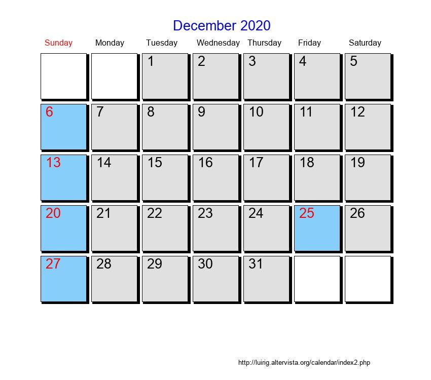 December Calendar 2020 : December roman catholic saints calendar