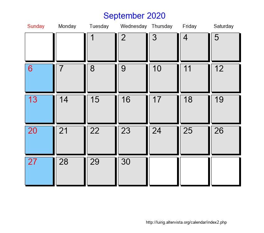 September 2020 - Roman Catholic Saints Calendar