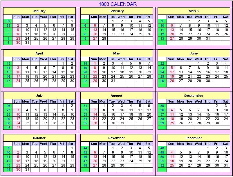 Printable 1803 Calendar