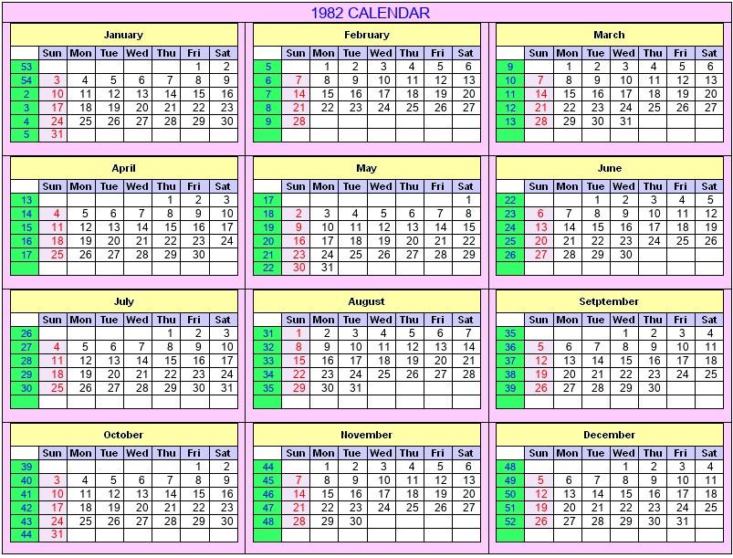 1982 Calendar Telugu.1982 Calendar