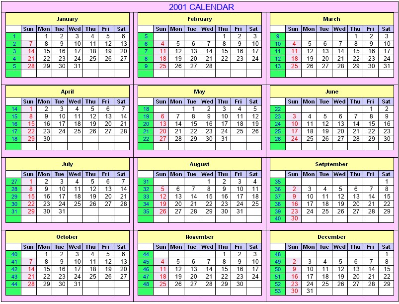 Printable 2001 Calendar