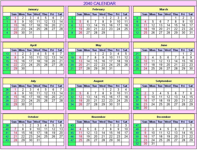 Printable 2040 Calendar