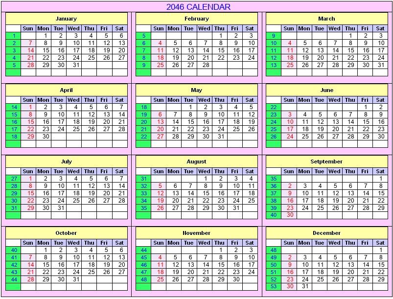 Printable 2046 Calendar