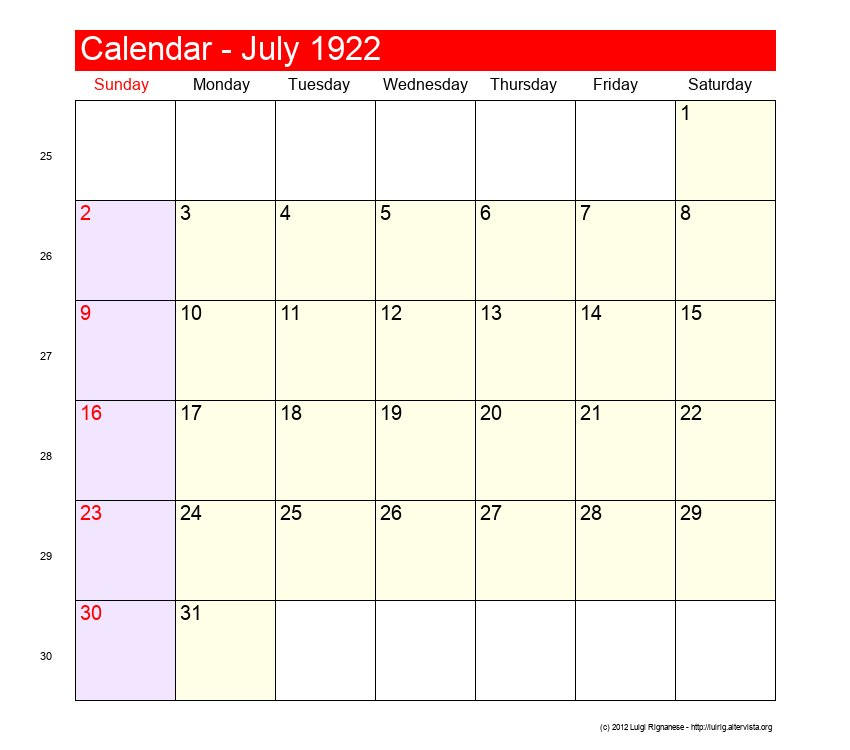 July 1922 Roman Catholic Saints Calendar