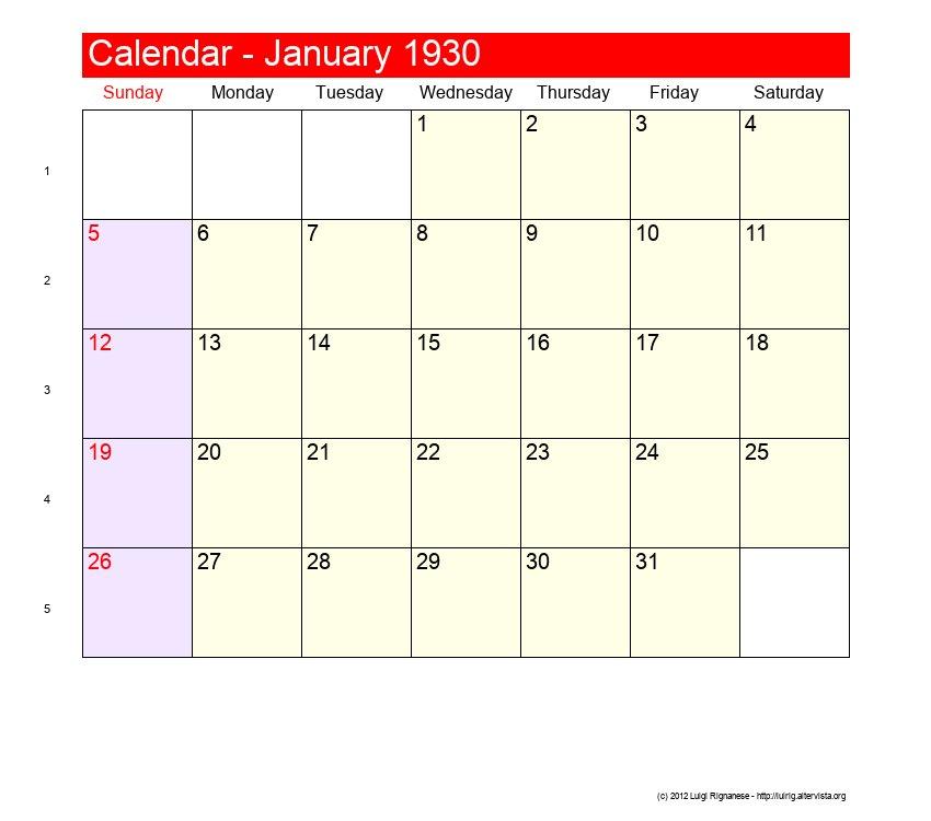January 1930 - Roman Catholic Saints Calendar