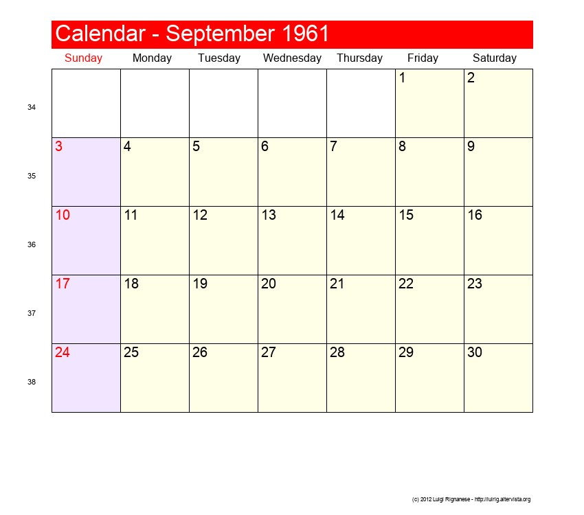 1961 Calendar November 15
