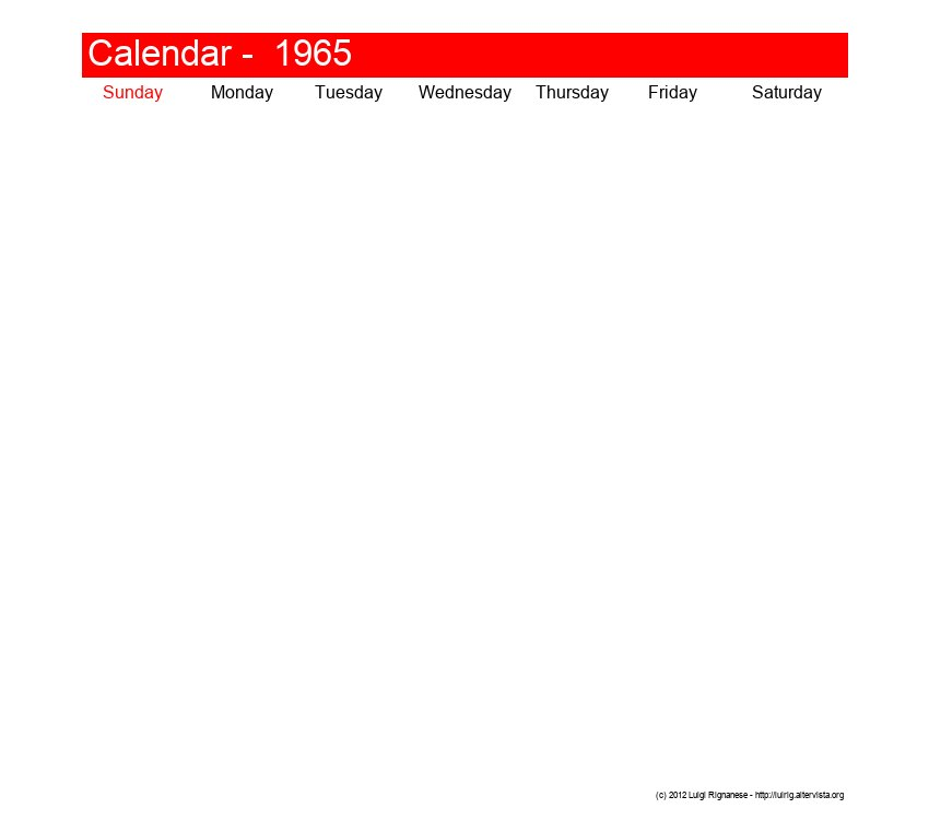 Printable calendar January 1965