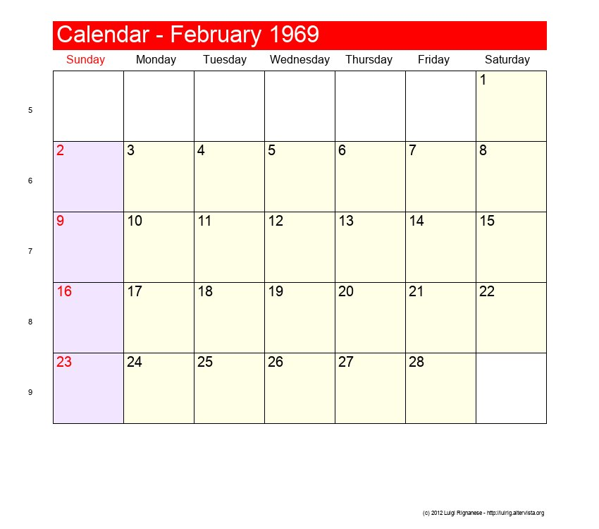Calendar 1969.February 1969 Roman Catholic Saints Calendar