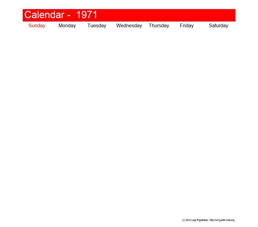 Printable calendar February 1971