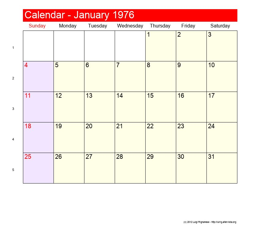 January 1976 Roman Catholic Saints Calendar