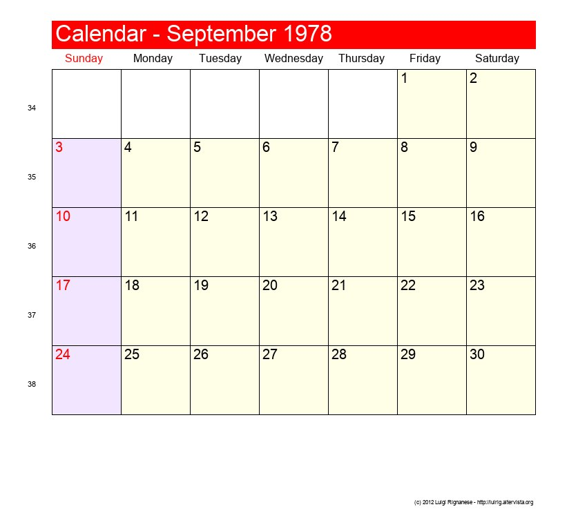 1978 Calendar September.September 1978 Roman Catholic Saints Calendar