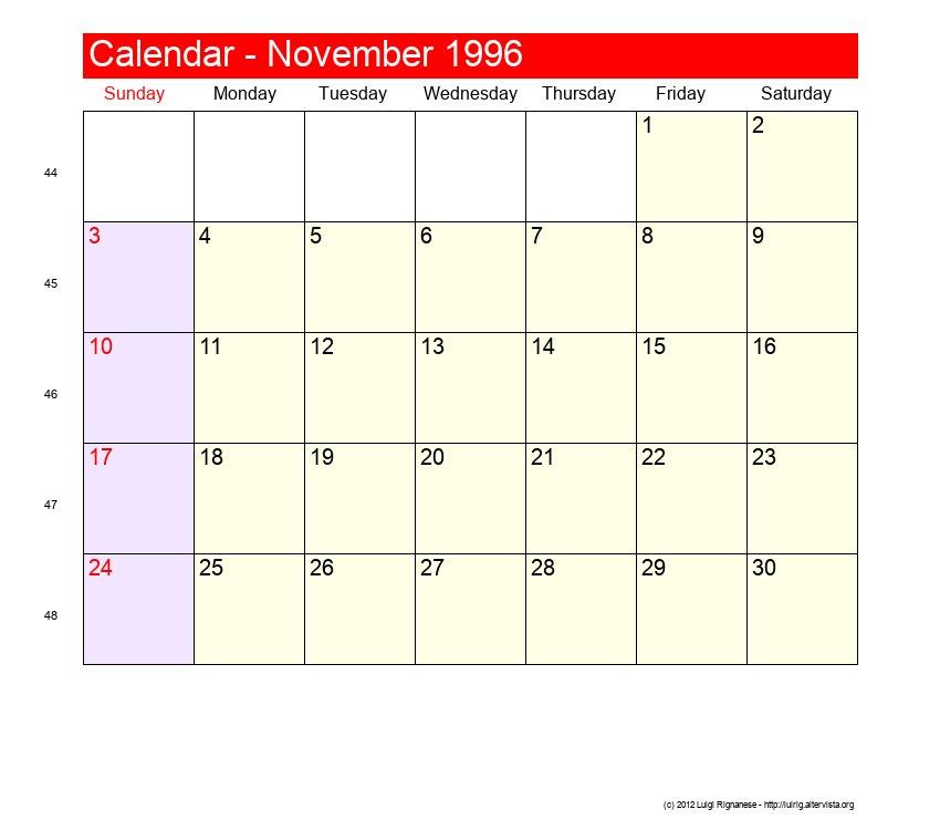 November 1996 Roman Catholic Saints Calendar