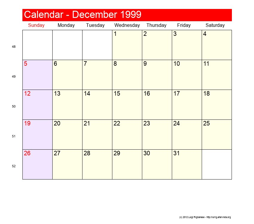 December 1999 Roman Catholic Saints Calendar