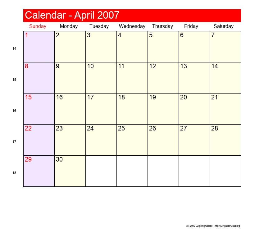 Calendar April To September : April roman catholic saints calendar