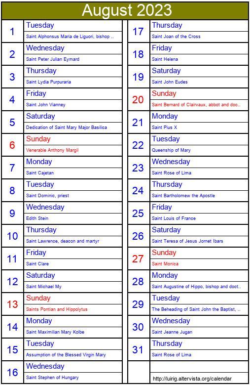 October 2003 - Roman Catholic Saints Calendar