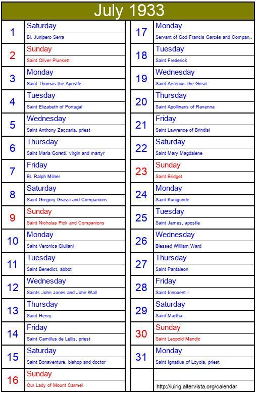 July 1933 - Roman Catholic Saints Calendar