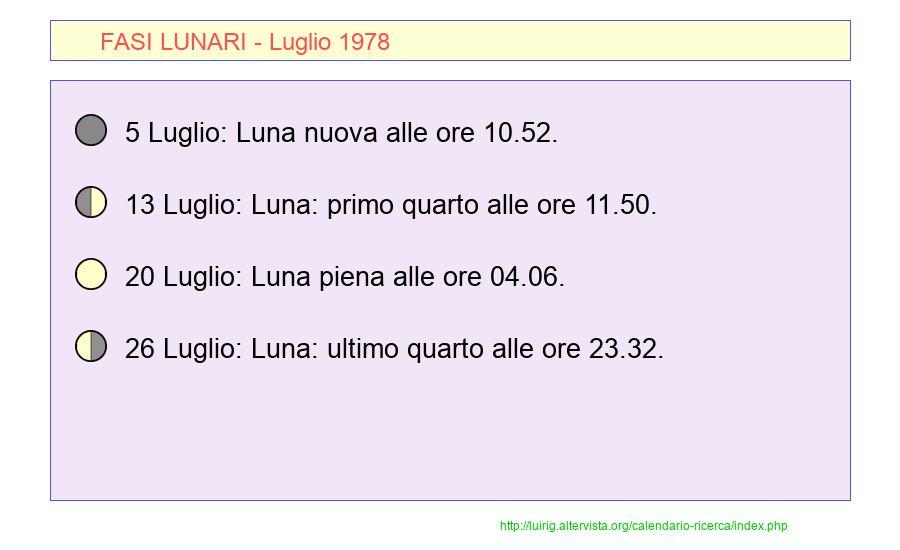 Calendario Lunare 1978.Calendario Luglio 1978 Pdf