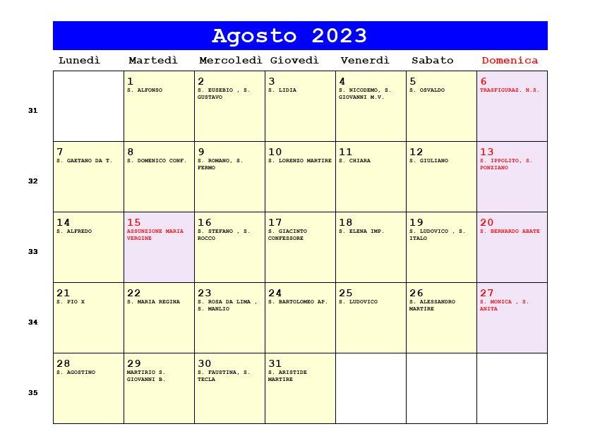 Calendario da stampare - Gennaio 2025