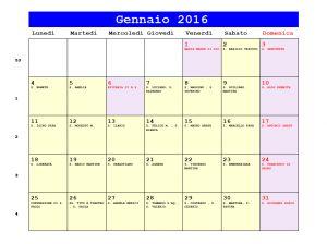Calendario da stampare - Gennaio 2016