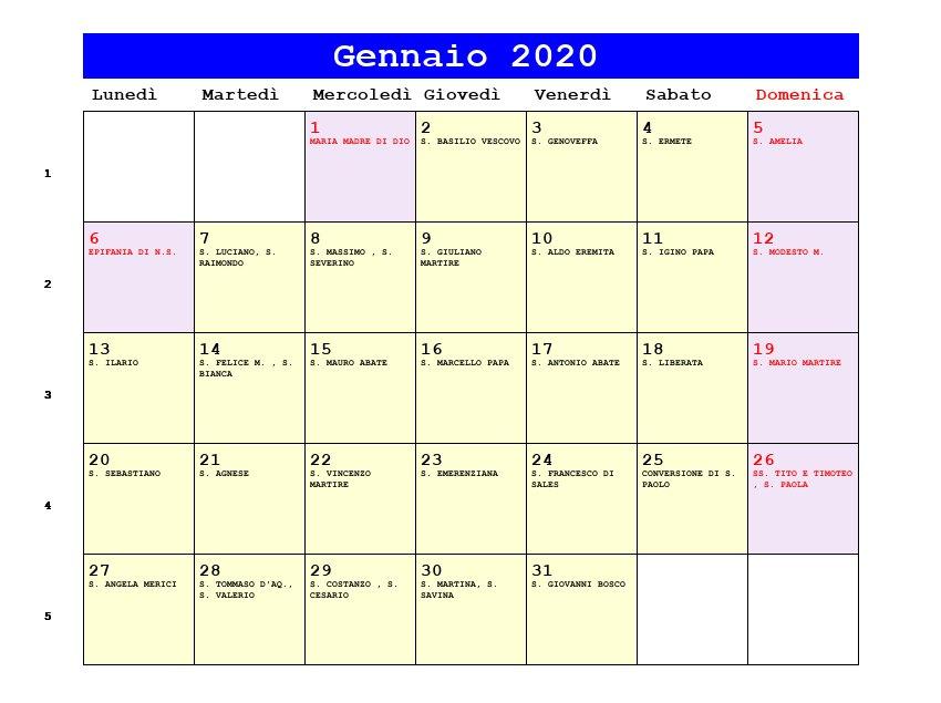 Anno Calendario 2020.Calendario Gennaio 2020 Con Santi E Fasi Lunari