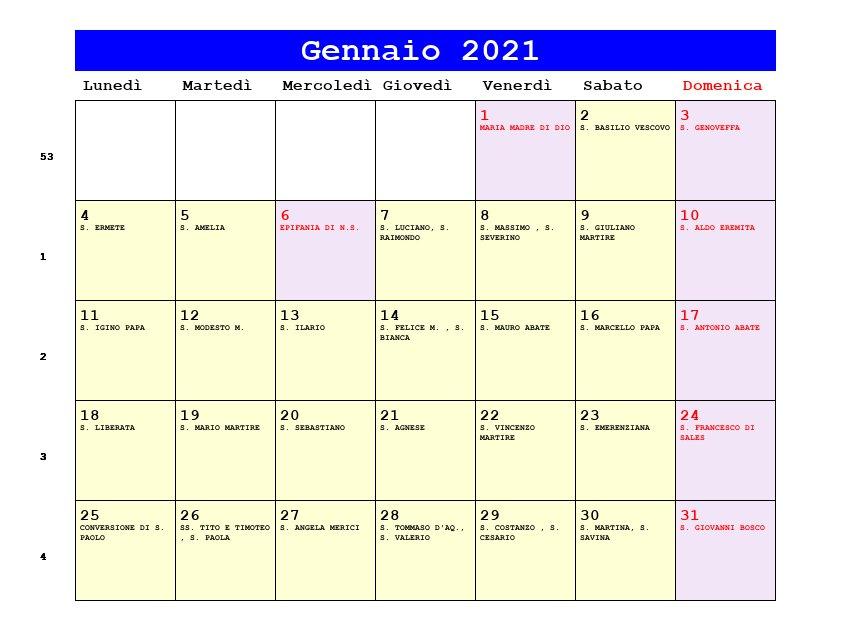 Calendario Gennaio 2021   Con santi e fasi lunari   Capodanno