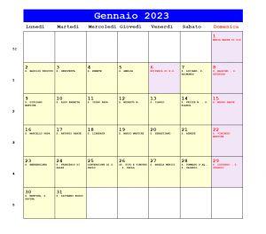 Calendario da stampare - Gennaio 2023