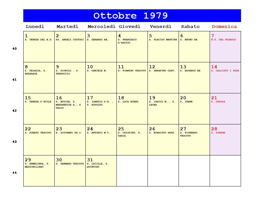 Calendario Del 1979.Calendario Ottobre 1979 Pdf