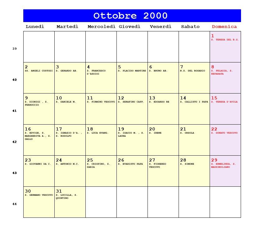Calendario Del 2000.Calendario Ottobre 2000 Con Santi E Fasi Lunari