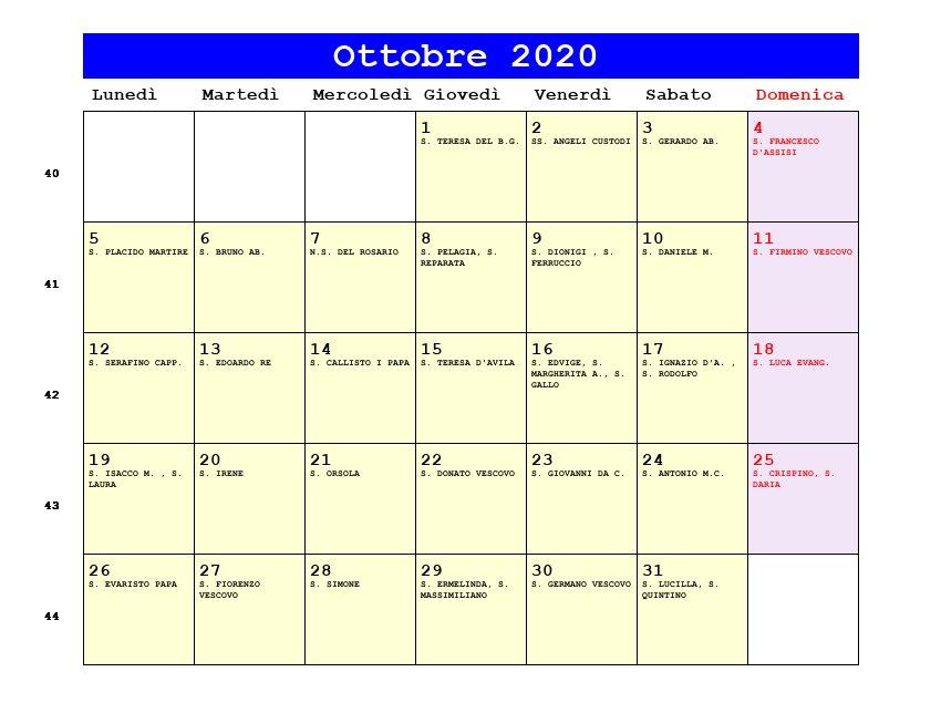Calendario Mese Ottobre 2020.Calendario Ottobre 2020 Con Santi E Fasi Lunari Festa