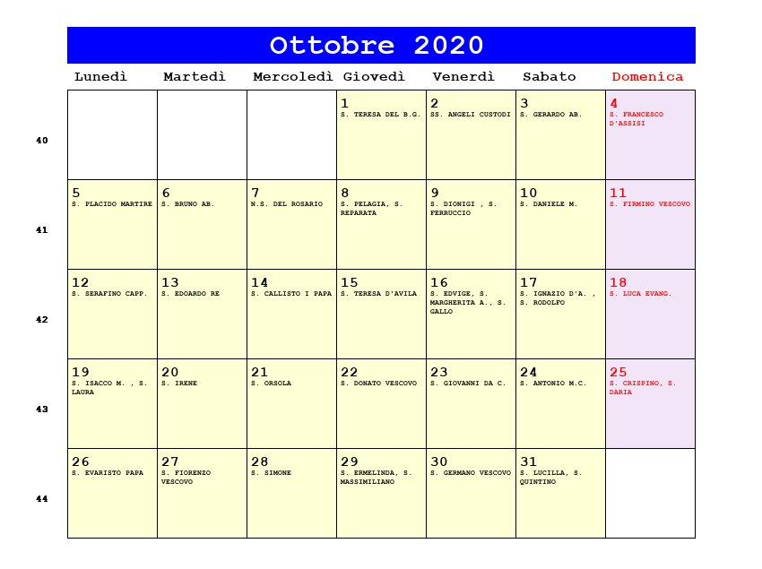 Calendario 2021 Con Festivita Da Stampare.Calendario Di Ottobre 2020 Calendario 2020