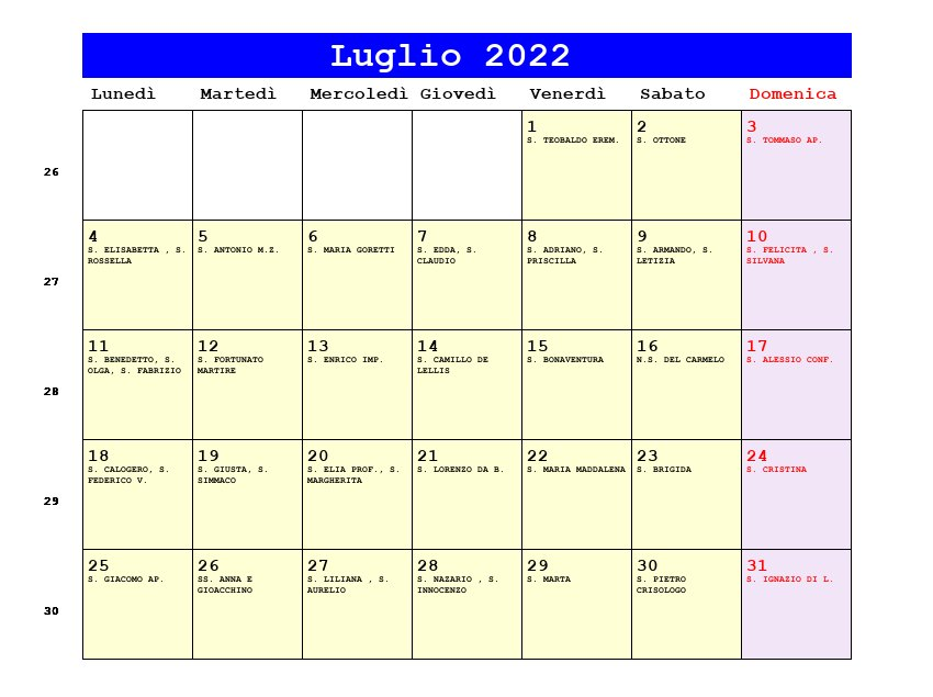 Calendario da stampare - Novembre 2017