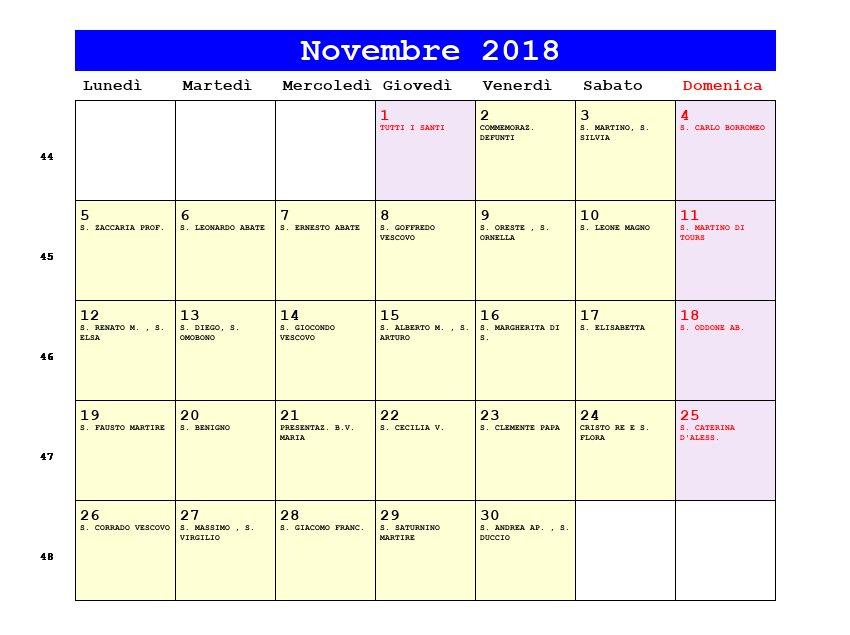 Giorno Di San Martino Calendario.Calendario Novembre 2018 Con Santi E Fasi Lunari