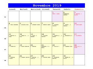 Calendario Novembre 2020 Con Santi.Calendario Novembre 2019 Con Santi E Fasi Lunari
