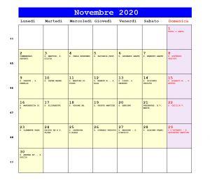 Calendario da stampare - Novembre 2020