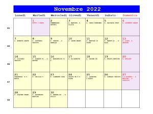 Calendario da stampare - Novembre 2022