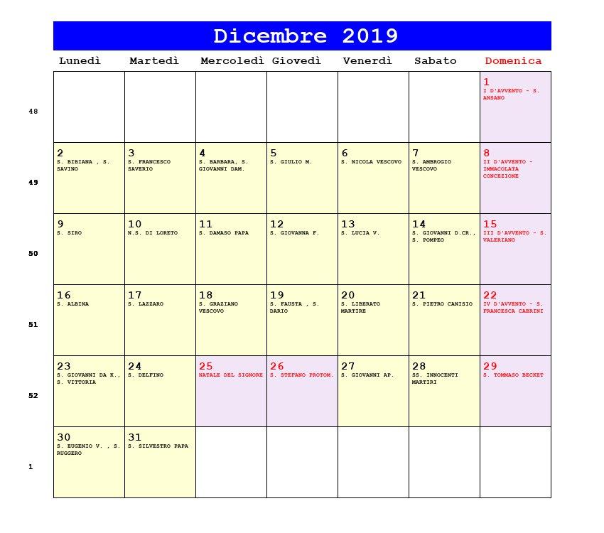 Calendario Mese Dicembre 2019.Calendario Dicembre 2019 Con Santi E Fasi Lunari Avvento