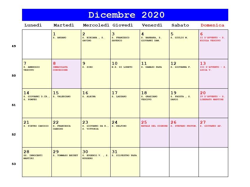 Calendario Novembre E Dicembre 2020.Calendario Dicembre 2020 Con Santi E Fasi Lunari Avvento