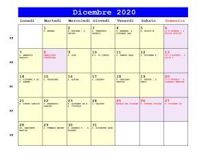 Calendario da stampare - Dicembre 2020