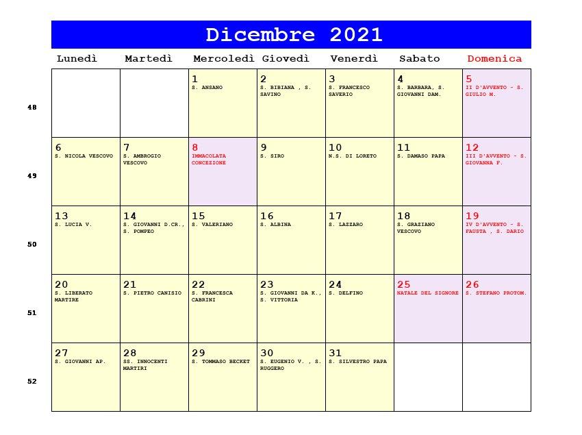 Calendario Dicembre 2021   Con santi e fasi lunari   Avvento