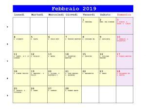 Calendario da stampare - Febbraio 2019