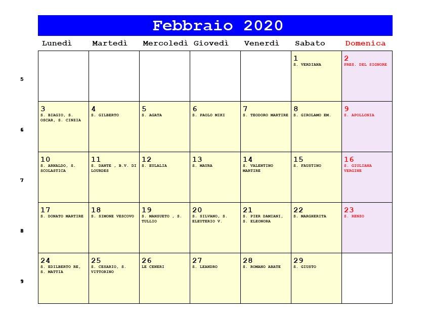 Calendario Mondiali 2020 Pdf.Calendario Febbraio 2020 Con Santi E Fasi Lunari