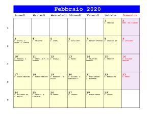 Calendario da stampare - Febbraio 2020